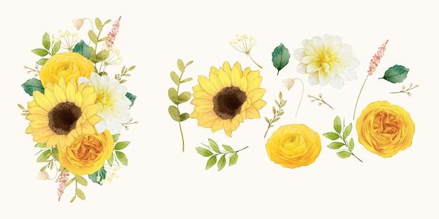 Bloem illustraties van zonnebloem rozen en dahlia