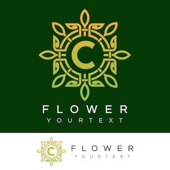 Bloem initiaal letter c logo ontwerp