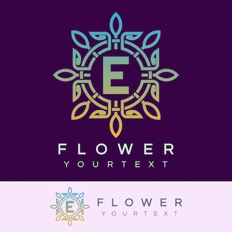 Bloem initiaal letter e logo ontwerp