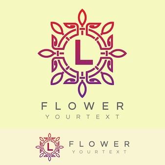 Bloem initiaal letter l logo ontwerp