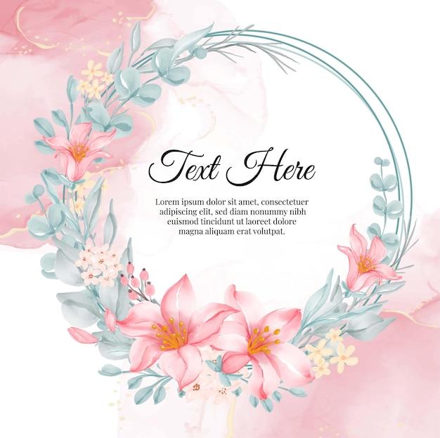 Bloem krans frame van bloem lelie roze