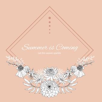 Bloem krans met line art tropische illustratie romantisch frame