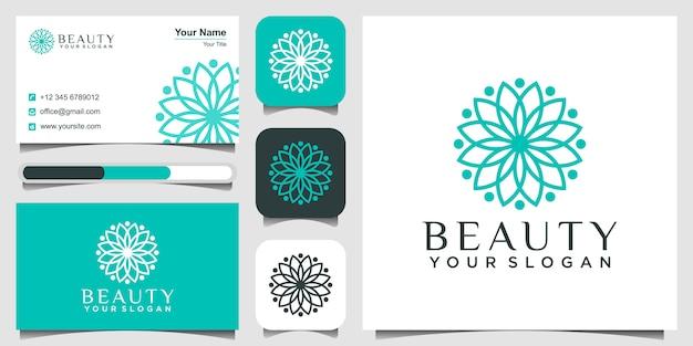 Bloem logo cirkel gemaakt met bladeren en bloemen met eenvoudige lijnen. logo en visitekaartje ontwerp