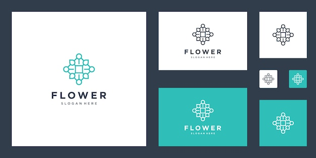 Bloem logo inspiratie eenvoudige lijnen