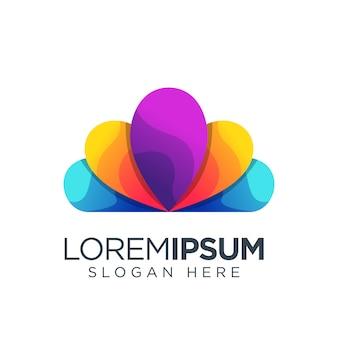 Bloem logo kleurrijke sjabloon