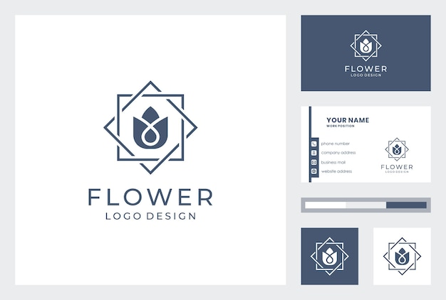 Bloem logo met sjabloon voor visitekaartjes.