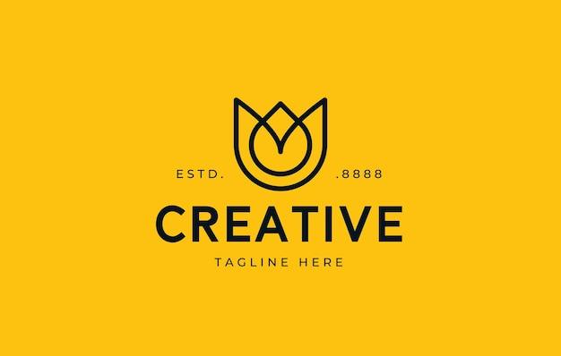 Bloem logo ontwerp bloem teken lijntekeningen gecombineerd met etherische olie druppels ziet er minimalistisch uit