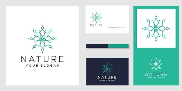 Bloem logo ontwerp met lijn kunststijl. visitekaartje ontwerp.