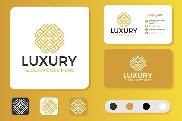 Bloem luxe logo-ontwerp en visitekaartje