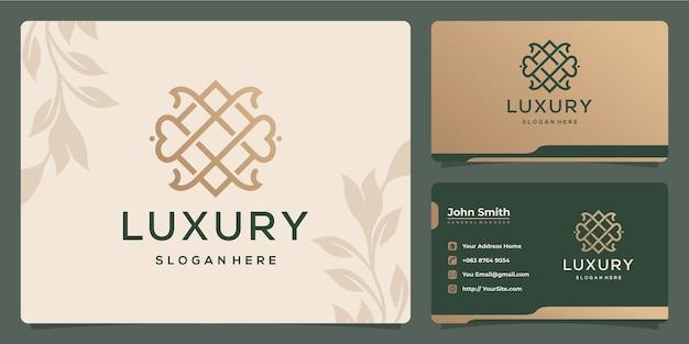 Bloem luxe monoline logo ontwerp en visitekaartje