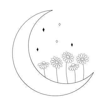 Bloem maan daisy vector hand getekende illustratie tattoo ontwerp