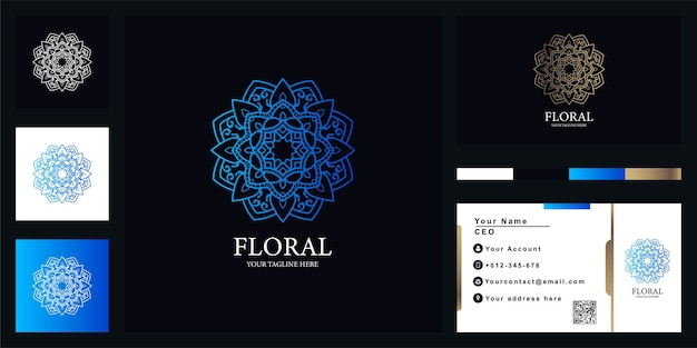 Bloem, mandala of sieraad luxe logo sjabloon met visitekaartje.