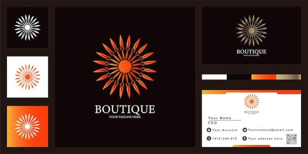Bloem, mandala of sieraad luxe logo sjabloonontwerp met visitekaartje.