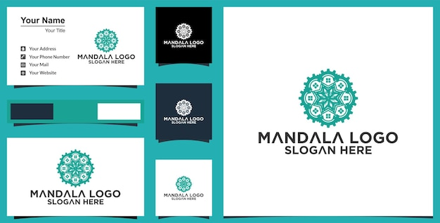 Bloem mandala sieraad vector pictogram logo ontwerp