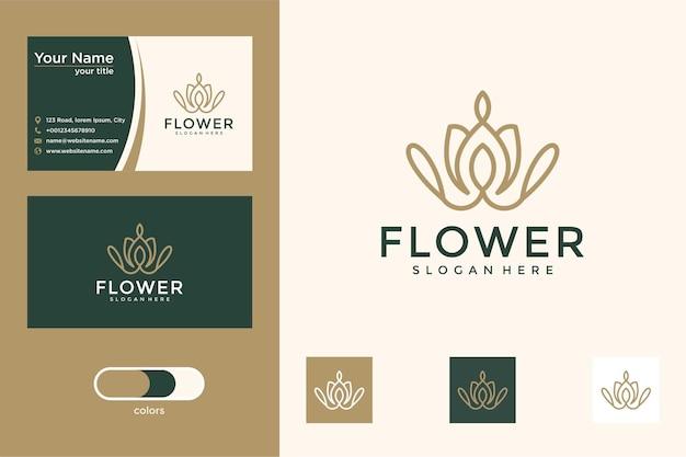 Bloem met lijnstijl logo ontwerp visitekaartje