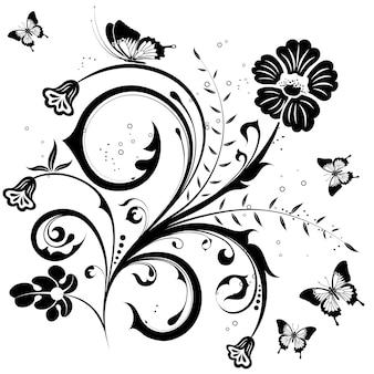 Bloem met vlinder, element voor ontwerp, vectorillustratie