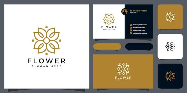 Bloem mono lijn luxe logo met visitekaartje ontwerp