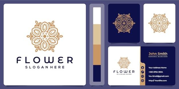 Bloem monoline sier logo ontwerp met sjabloon voor visitekaartjes