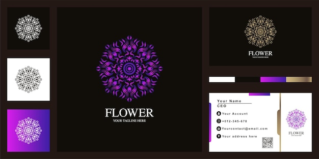 Bloem of sieraad luxe logo sjabloonontwerp met visitekaartje.