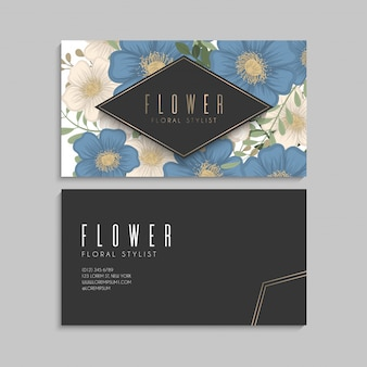 Bloem ontwerpt grens - blauwe bloemen