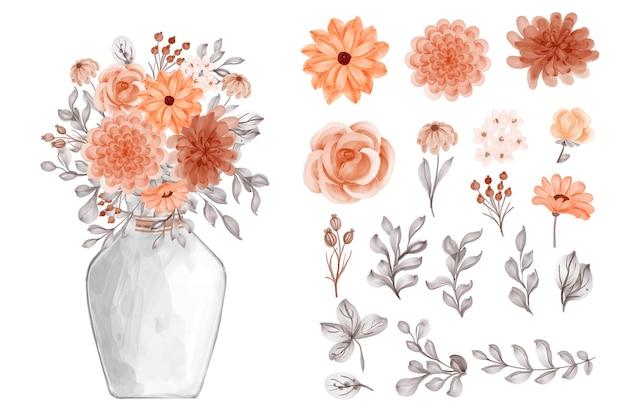 Bloem oranje en bladeren geïsoleerde illustraties en vaas bloemen