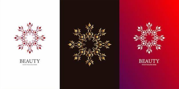 Bloem, ornament of mandala sjabloon embleemontwerp. ent logo sjabloonontwerp.