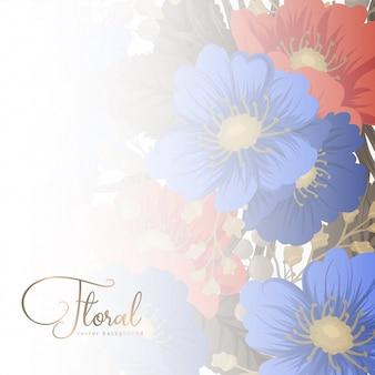 Bloem pagina grenzen - blauwe en rode bloemen