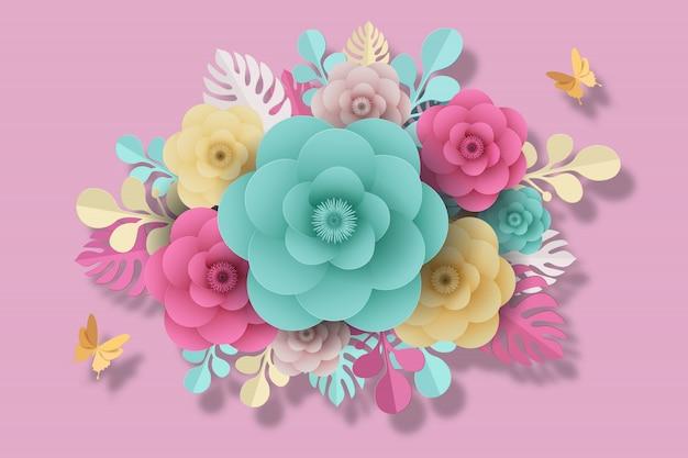 Bloem papier stijl, kleurrijke roos, papier ambachtelijke bloemen, vlinder papier