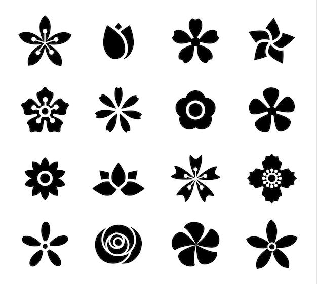 Bloem pictogrammenset vector illustratie schets