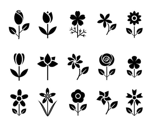 Bloem pictogrammenset vectorillustratie
