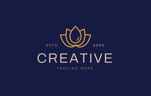 Bloem platte lijn met een druppel water logo ontwerpsjabloon