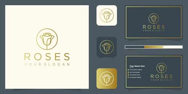 Bloem roos lijn kunststijl. luxe schoonheidssalon, mode, cosmetica, yoga en spa-producten. logo-ontwerp en visitekaartje