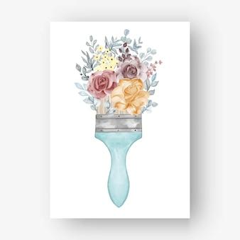 Bloem roos verf penseel aquarel illustratie