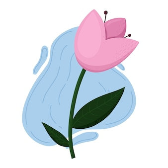 Bloem roze tulp vlakke afbeelding