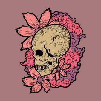 Bloem schedel tatto