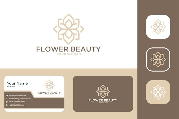 Bloem schoonheid elegant logo ontwerp en visitekaartje
