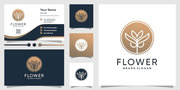 Bloem schoonheid logo en visitekaartje ontwerp