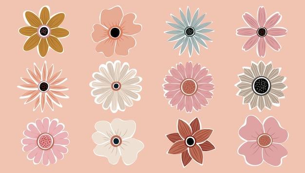Bloem simple abstract hand getekend verschillende vormen wilde bloemen instellen. botanische natuur bloemen objecten hedendaagse moderne trendy vector. verzameling van elementen illustratie.