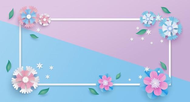 Bloem sjabloon en frame in papier gesneden concept.