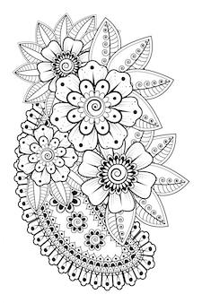 Bloem sjabloon in indiase stijl. etnische bloemen paisley - lotus. mehndi-stijl.