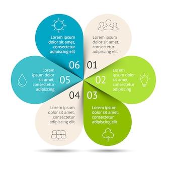 Bloem vector infographic eco presentatiesjabloon cirkeldiagramgrafiek 6 stappendelen groene bladeren