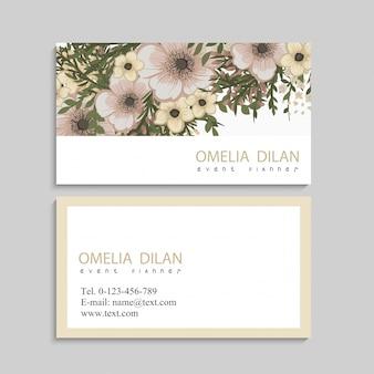 Bloem visitekaartjes beige