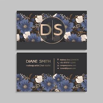 Bloem visitekaartjes blauw
