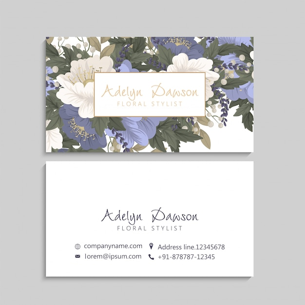 Bloem visitekaartjes blauwe bloemen