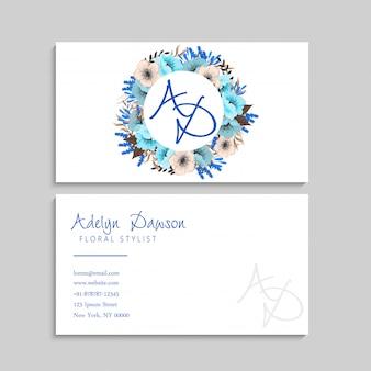 Bloem visitekaartjes blauwe krans
