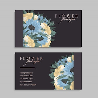 Bloem visitekaartjes lichtblauw