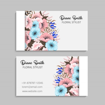 Bloem visitekaartjes - lichtblauwe bloemen