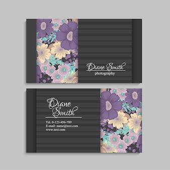 Bloem visitekaartjes paarse bloemen