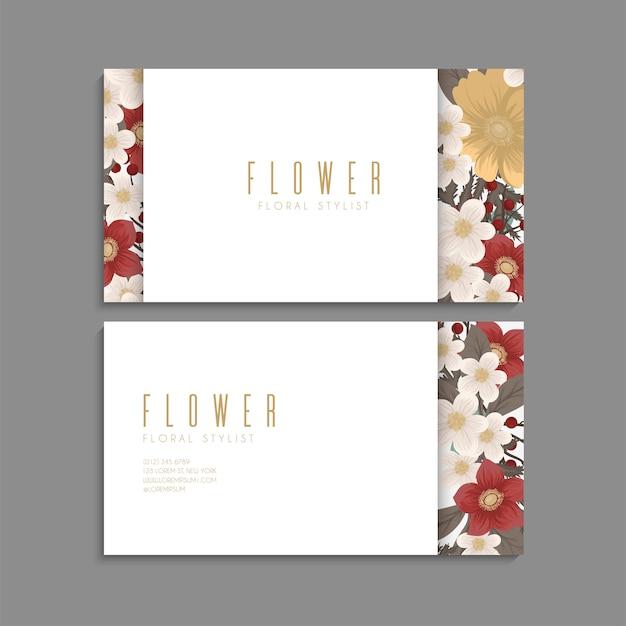 Bloem visitekaartjes rode bloemen