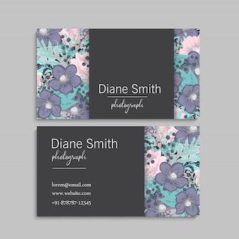 Bloem visitekaartjes roze bloemen
